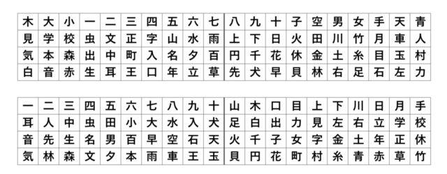 1年生 漢字 習う順